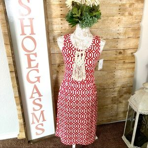 SALE! LuLaRoe Tank Dress Red White Bohemian Print